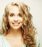 Blond girl smiling and laughing Stock Photography