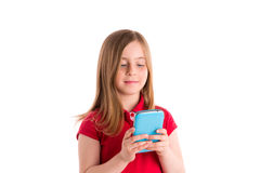 Blond girl smiling writing fingers smartphone Stock Photos