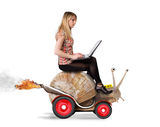 Blond girl on snail Royalty Free Stock Photography