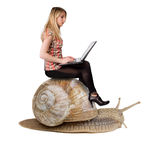 Blond girl on snail Stock Photography