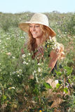 Blond girl on the summer meadow Royalty Free Stock Photos