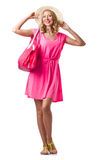 Blond girl in summer pink clothing isolated on Stock Images