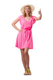 Blond girl in summer pink clothing isolated on Stock Photography