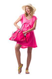 Blond girl in summer pink clothing isolated on Royalty Free Stock Image
