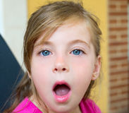 Blond girl with surprised gesture face portrait Stock Images