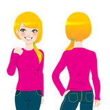 Blond Girl T-shirt. Front and back view of beautiful blond woman wearing pink tight long sleeve t-shirt Stock Photos