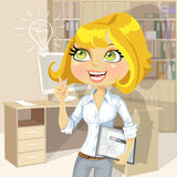 Blond girl with tablet inspiration idea in office Royalty Free Stock Photo