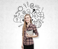Blond girl with tablet and internet sketch. Royalty Free Stock Photo