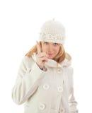 Blond girl threatens Stock Image