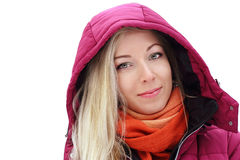 Blond girl under the hood. Young blond girl under the hood  on white background Royalty Free Stock Photography