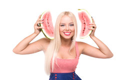 Blond girl with watermelon Royalty Free Stock Photo