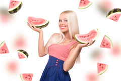 Blond girl with watermelon Royalty Free Stock Photography
