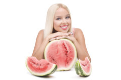 Blond girl with watermelon Royalty Free Stock Images
