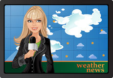 Blond girl and weather news stock illustration