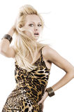 Blond girl on white Royalty Free Stock Image