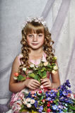 blond girl with white flowers in her hair Royalty Free Stock Photography