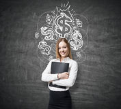 Blond girl in white shirt and shiny dollar signs Royalty Free Stock Images