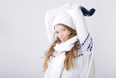 Blond girl in winter clothing Royalty Free Stock Photos