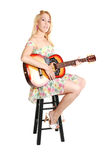 Blond Girl With Guitar. Stock Photo