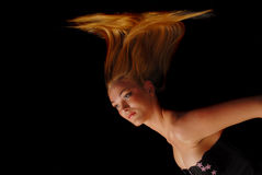 Blond Girl With Her Hair Falling Down Stock Photography