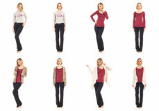 Blond girls with black pants concept. Blond woman with black pants concept Royalty Free Stock Photos