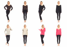 Blond girls with black pants concept. Blond woman with black pants concept Royalty Free Stock Photo
