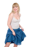 blond gladlynt lyftskirt Royaltyfri Foto