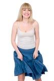 blond gladlynt lyftskirt Fotografering för Bildbyråer