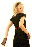 blond glamorös klänningflicka Arkivbilder