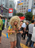 Blond gothic lolita at the Shibuya crossing, tokyo Royalty Free Stock Photography