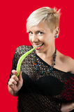 Blond with green pepper Stock Photo