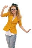 blond gullig dansexponeringsglasmodell arkivbild
