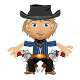 Blond guy in the hat with holster and guns Royalty Free Stock Photography