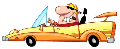 Blond guy smoking a cigar and driving a convertibl Royalty Free Stock Photo