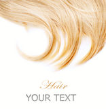 Blond Hair. Healthy Blond Hair. Isolated on White stock photography