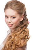 Woman with Curly Long Hair Royalty Free Stock Photo