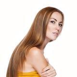 Blond Hair.Beautiful-kvinna med rakt långt hår Royaltyfria Foton