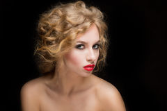 Blond Hair. Beautiful Sexy Blonde Girl Stock Images