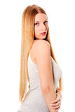 Blond hair. Beautiful woman with straight long hair. Royalty Free Stock Photo