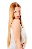 Blond hair. Beautiful woman with straight long hair. Royalty Free Stock Images