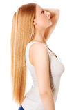 Blond hair. Beautiful woman with straight long hair. Blond hair. Beautiful woman with straight long hair Royalty Free Stock Photo