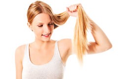 Blond hair. Beautiful woman with straight long hair. Blond hair. Beautiful woman with straight long hair Stock Photography