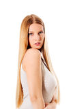 Blond hair. Beautiful woman with straight long hair. Blond hair. Beautiful woman with straight long hair Stock Image