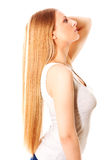 Blond hair. Beautiful woman with straight long hair. Blond hair. Beautiful woman with straight long hair Royalty Free Stock Images