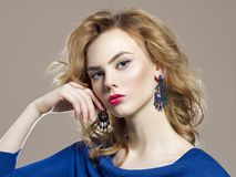 Blond hair beauty girl with make-up Royalty Free Stock Photo