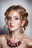 Blond hair beauty woman portrait wears golden ear-rings and necklace Royalty Free Stock Photography