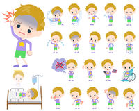 Blond hair boy About the sickness. Set of various poses of blond hair boy About the sickness Royalty Free Stock Images