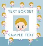 Blond hair boy text box. Set of various poses of blond hair boy text box Stock Photography