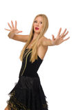Blond hair girl in black evening dress isolated on Stock Photography