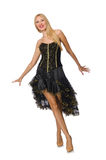 The blond hair girl in black evening dress Royalty Free Stock Photography